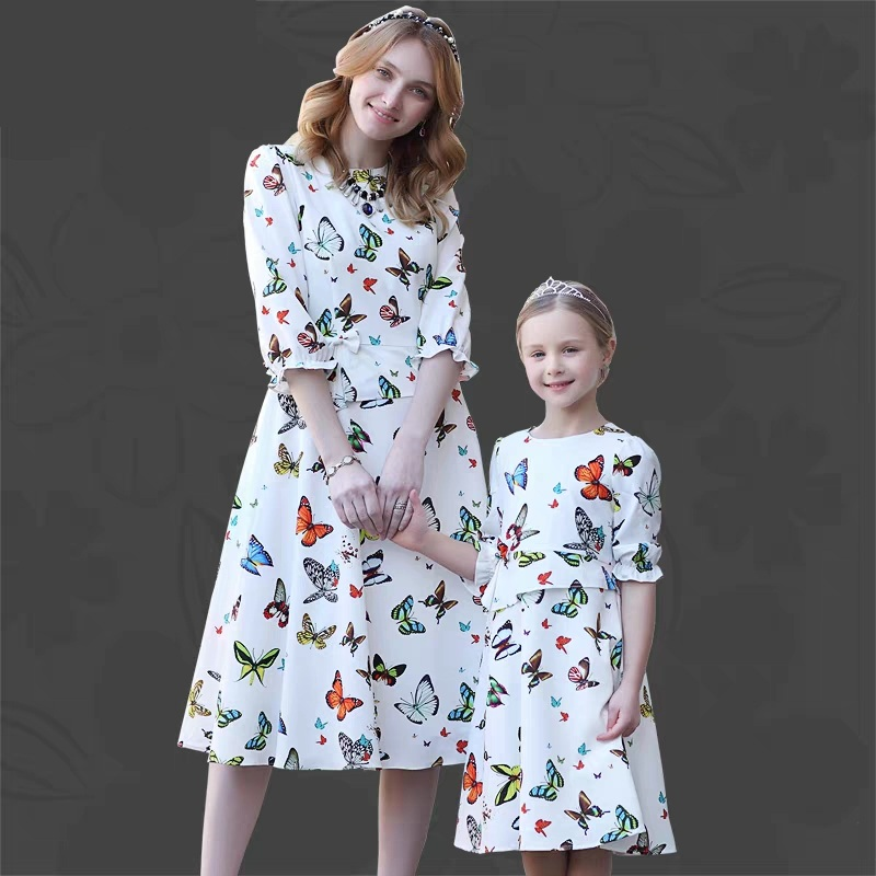 Summer family look baby Kids girls 100-160cm Clothes children butterfly print dress mother and daughter matching A-line dresses 2017 summer children clothing mother and daughter clothes xl xxl lady women infant kids mom girls family matching casual pajamas