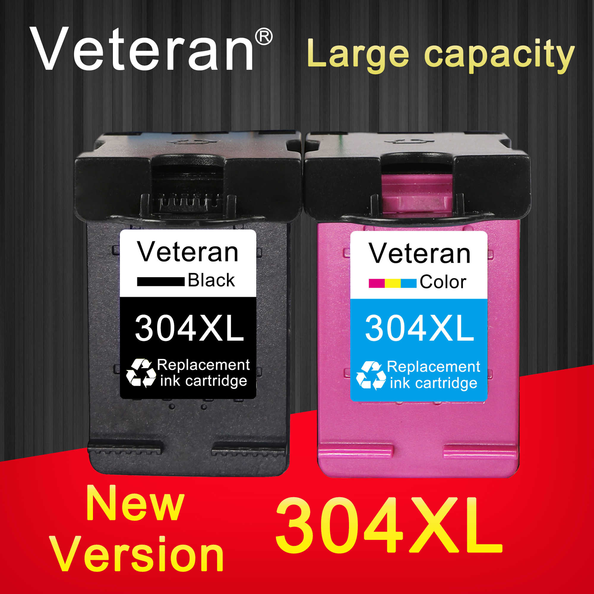 Veteran Ink Cartridge 304XL Versi Baru untuk HP 304 Hp 304XL Deskjet Iri 2620 2630 2632 5030 5020 5032 3720 3730 5010 Printer