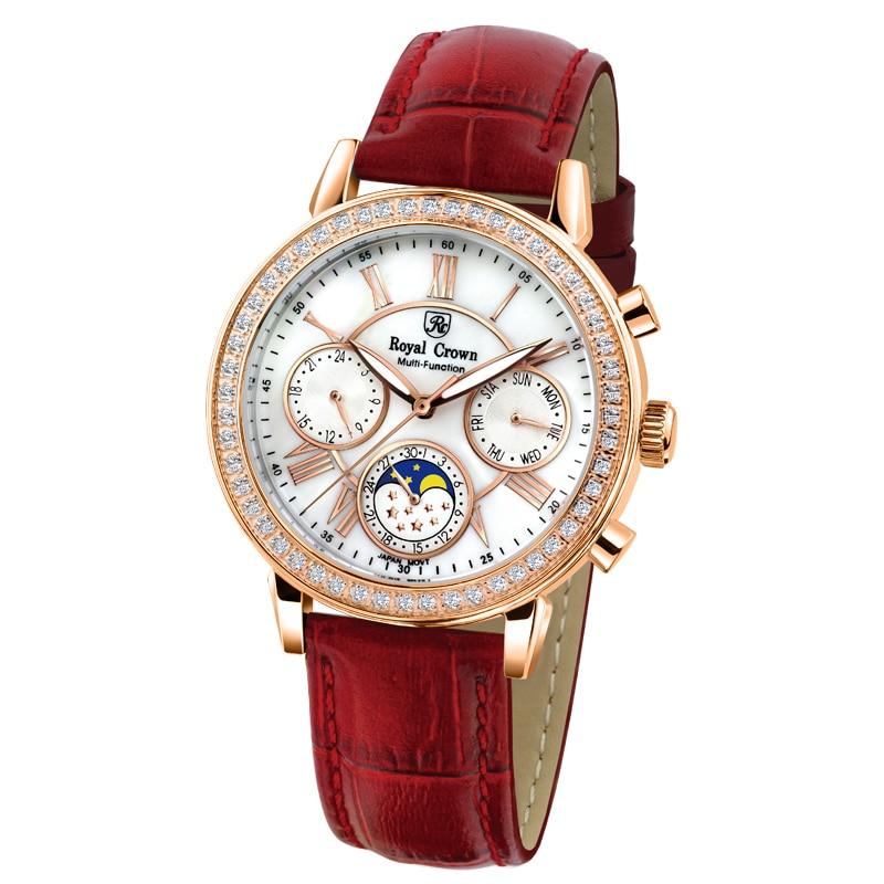 Royal Crown 6422 Italy brand Diamond Japan MIYOTA Chronograph calendar Moon phase Watch Ladies Watches Relogio Feminino кольцо royal diamond