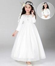 Девушки Рождество платье принцессы Новое Прибытие 2015 осень Девушки Одежда Рождество принцесса платья белый размер