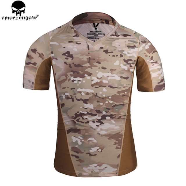 96e612ffdc9f6 EMERSONGEAR Skin Tight Base Layer Camo Running Shirts Military Hunting  Tactical Shirt Breathable Short sleeve Multicam EM9167