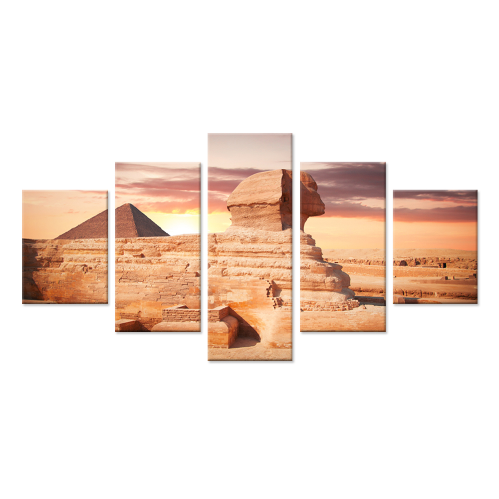 Egyptian The Great Sphinx And Pyramid Under Sunset Vintage Style Large 5 Piece Wall Art Ancient Architecture Painting Prints