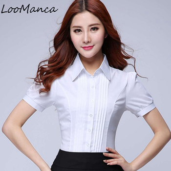 Short sleeve ol elegant tops and blouses white chiffon shirts office work wear