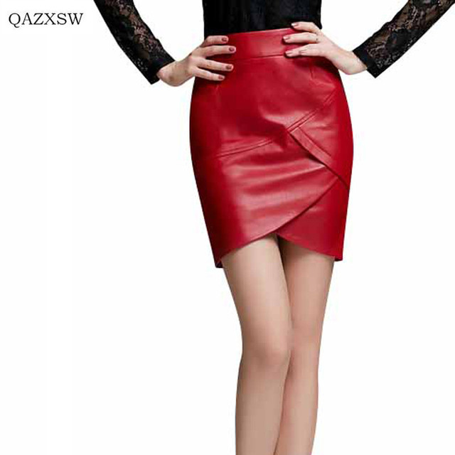 European Winter PU Leather Solid Skirt Winter Red Black Mini Sexy Skirt Waist Slim Women Bodycon Skirts PU Ladies Skirt QYX044