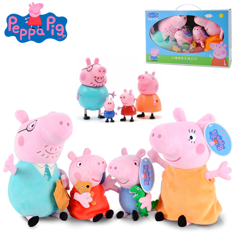 4Pcs/set Peppa Pig 19/30cm Original Animal Stuffed Plush Toys Action Figure Model Dolls Pink Pig Family Party For Children Gift4Pcs/set Peppa Pig 19/30cm Original Animal Stuffed Plush Toys Action Figure Model Dolls Pink Pig Family Party For Children Gift