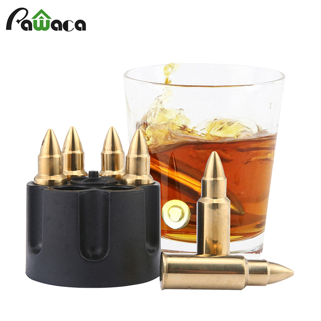 Stainless Steel Bullet Shaped Whiskey Stones Set with Base Chills Drinks Stones Rocks Cubes for Chilling Vodka, Whiskey, Scotch