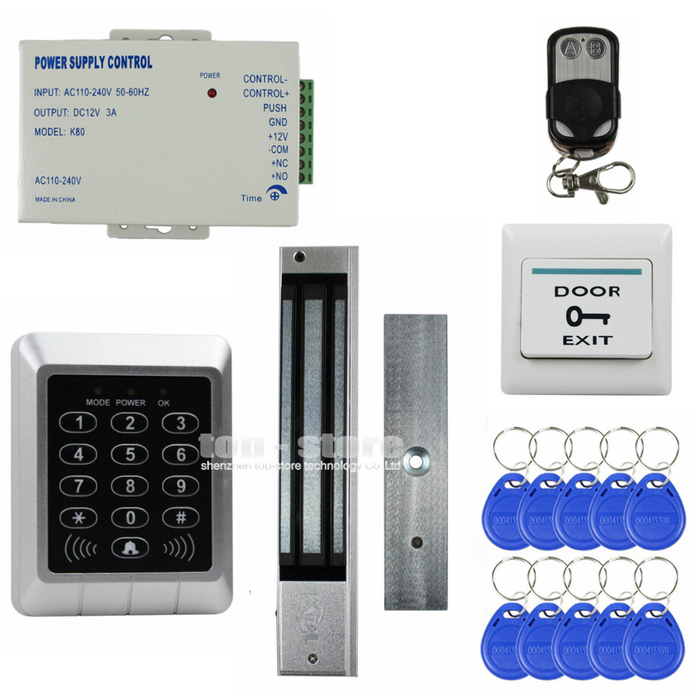 DIYSECUR 125KHz RFID Reader Keypad Access Control System Security Kit + 280kg Magnetic Lock For Office / Home Improvement weigand reader door access control without software 125khz rfid card metal access control reader with 180 280kg magnetic lock