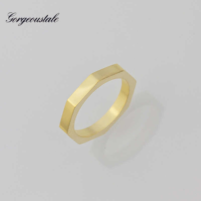 Dainty Jewelry Geometric Hexagon Rings For Women Stainless Steel Wedding Bands Gold Color Fashion Party Gift 2017