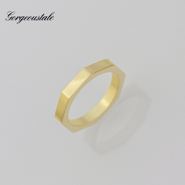 Dainty Jewelry Geometric Hexagon Rings For Women Stainless Steel