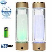 Butelki wody Inteligentny Ekspres Jonizator Generator Wodoru Bogate Jonizator Przenośny USB Akumulator Szkła 350 ML Super Antyoksydanty
