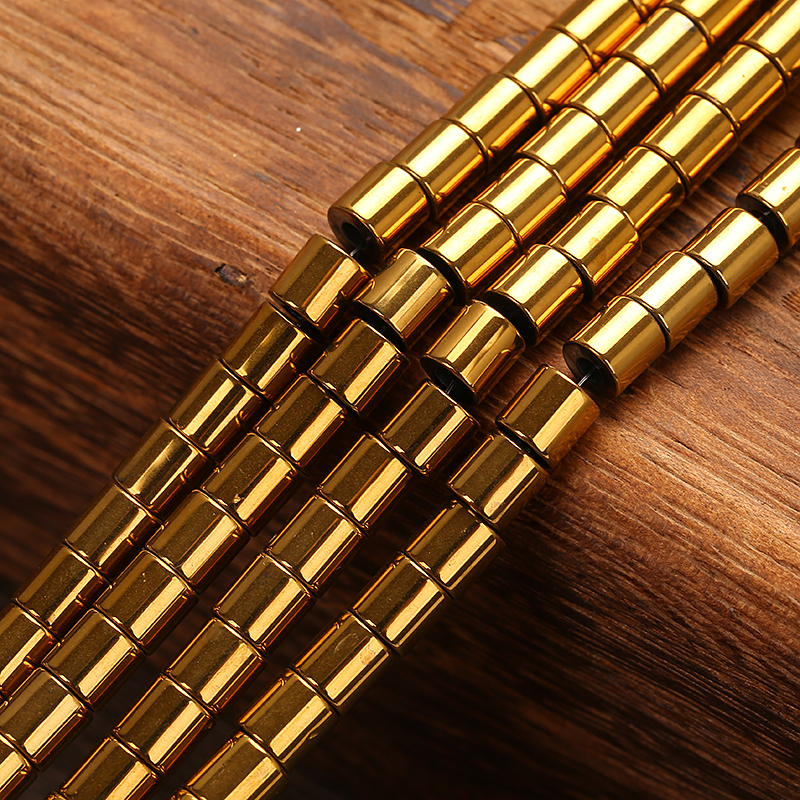 """Gold Natural stone Hematite Tube loose spacer 4mm 6mm Pick Size Beads For Jewelry Making 16"""" per strand"""