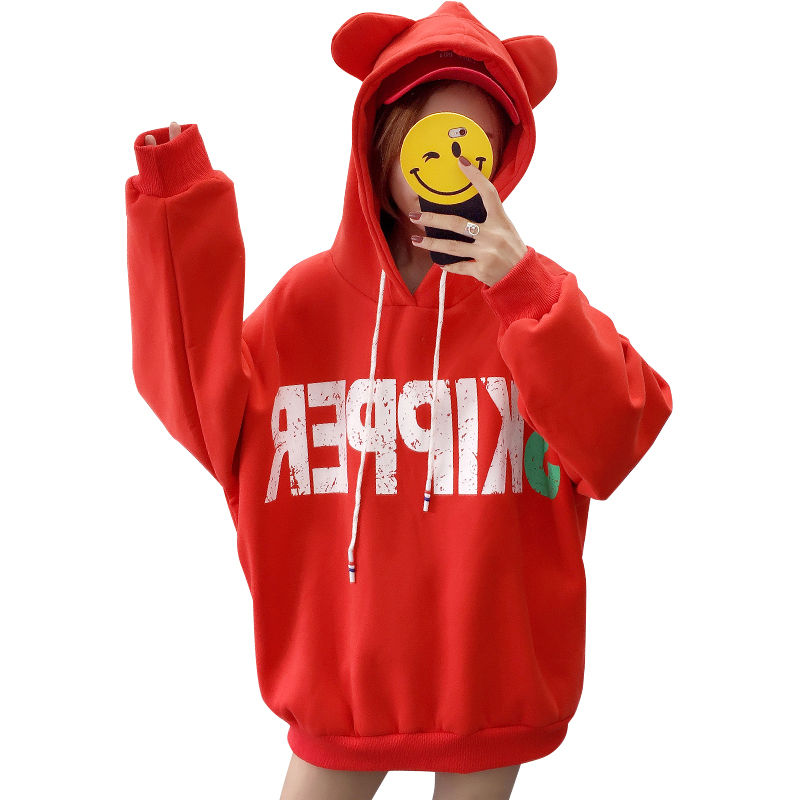 Hoodies & Sweatshirts Trend Mark Long Sweatshirt Women Cotton Full Worsted Real Direct Selling Unicorn Kpop Panda Moletom Feminino Pullovers Drop-shoulder