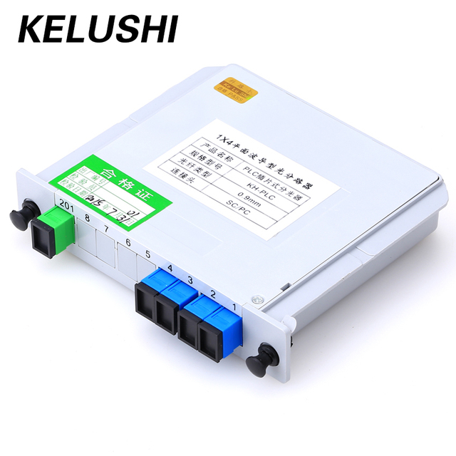 KELUSHI SC/UPC 1x4 מודול PLC סיבים אופטי ספליטר תיבת SC מחבר סיבים כלי PLC ספליטר סיבים הסתעפות מכשיר