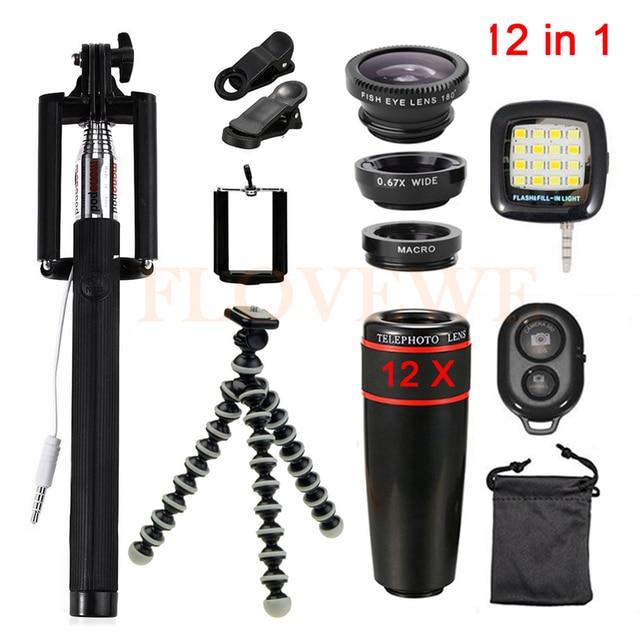 Con Clips 12in1 Lente kit 12x Teleobjetivo Lentes de ojo de Pez de Gran Angular lente macro para iphone 6 6 s 7 xiaomi huawei móvil trípode