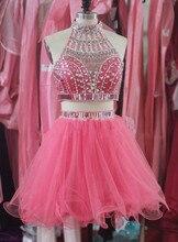 Vestidos Coctel 2016 Elegante Cocktailkleid Blingbling Party Kleid Neckholder schulterfrei Robe de Cocktail vestido de festa