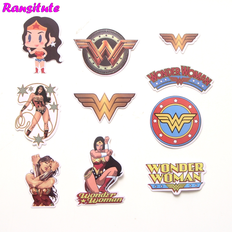 R185 48pcs/set Wonder Woman Mix Sticker Laptop Skateboard Luggage Model Styling Bicycle Applique Cool Waterproof Sticker
