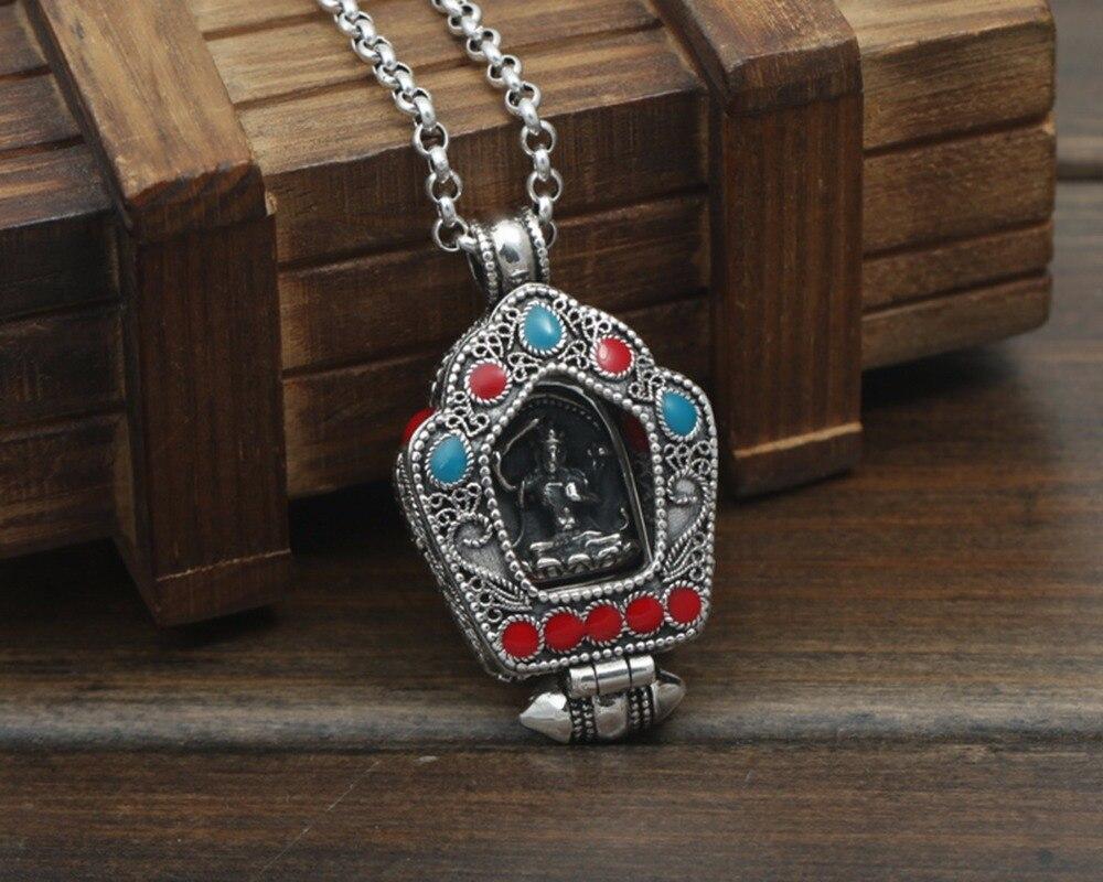 S925 Silver Retro Necklace Gawu Box MenS Women Lotus Creative Unique Personality Gift Unisex