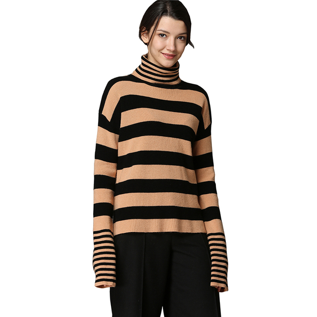 8b739e6a480b87 MEEFUR Womens Winter Thick Tops Long Sleeve Woolen Pullover Ladies Striped Loose  Fit Turtleneck Sweaters One