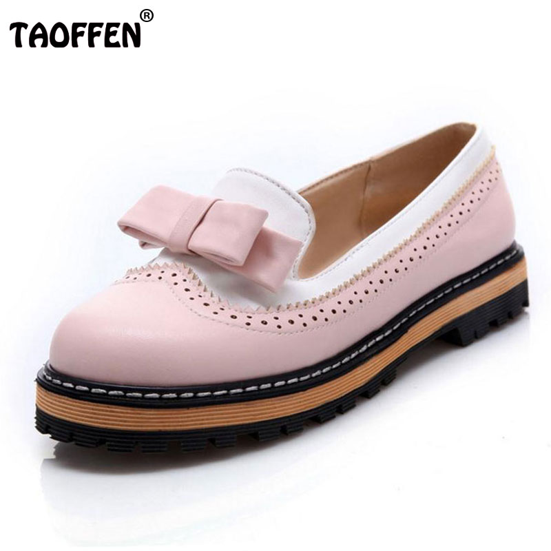 TAOFFEN Big Size 32-43 Women Slip On Flats Shoes Women Cute Bowtie Lace Shallow Mouth Ladies Platform Leisure Footwear odetina fashion ladies summer shoes ballet flats women flat slip on ballerinas patent leather shallow mouth shoes big size 32 52