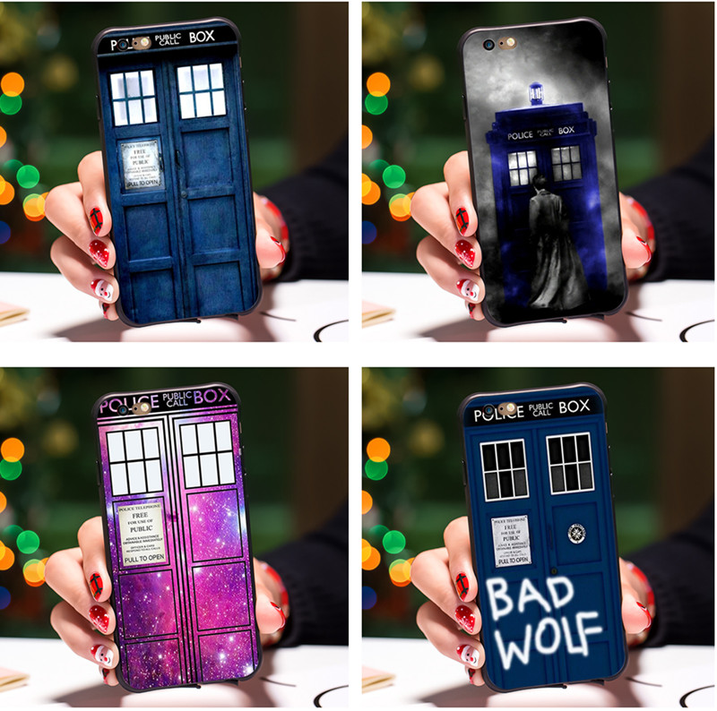 Half-wrapped Case Tardis Box Doctor Who Black Soft Silicone Cover Case For Iphone 8 7 6 6s Plus X 10 5 5s Se Doctor Who Phone Cases For Iphone 8