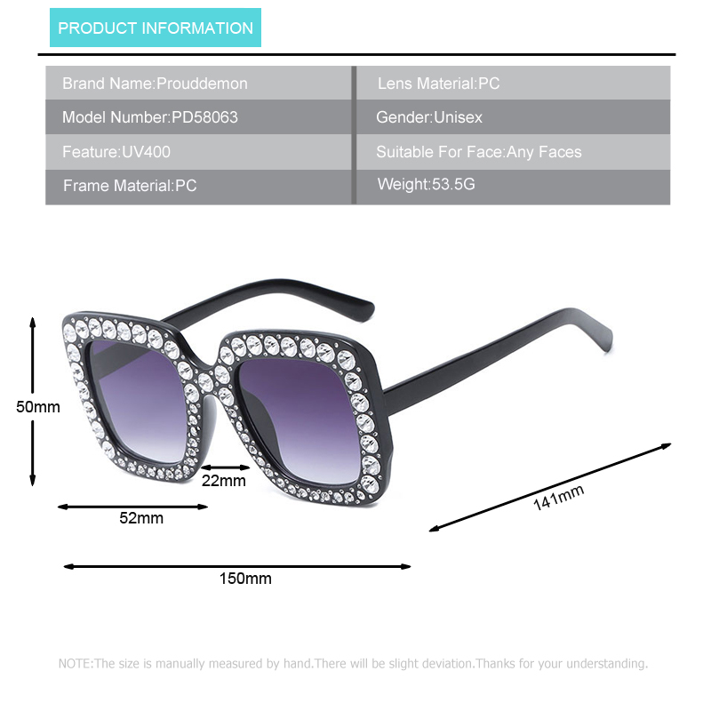 HTB1fAD8m9YH8KJjSspdq6ARgVXaP - Prouddemon 2018 Newest Oversized Square Sunglasses Women Luxury Brand Designer Ladies Diamond Frame Mirror Sun Glasses Oculos