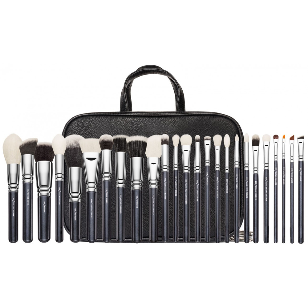 Brand Makeup Complete Professional 25 30 pieces Foundation Powder Concealer Eyes shadow Cosmetic Real Wool Brush set Black Brown finding color professional wooden cosmetic makeup bevel foundation brush brown