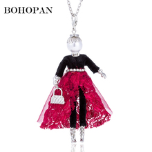 цена на Long Necklace For Women Girl Fashion Figure Doll necklaces & pendants Silver Chain Statement Sweater Necklace Crystal Jewelry