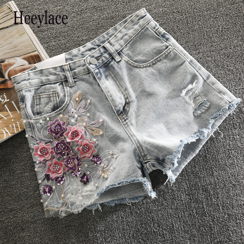 14 Styles Embroidery Ripped Denim Shorts 3D Floral High Waist Jeans Short Femme 2019 New Frayed Hole Shorts Women Summer Shorts