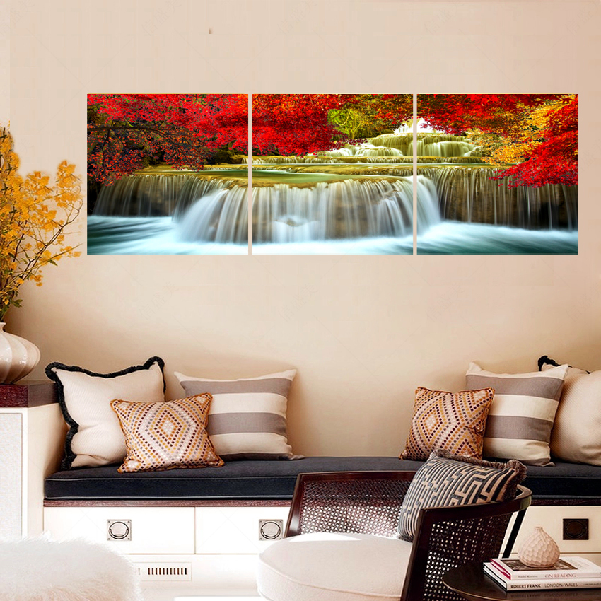 No frames 3pcs picture oil canvas art painting wall for Waterfall in living room design
