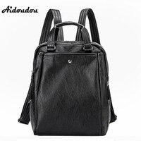 AIDOUDOU Fashion Multifunctional Women Backpacks Genuine Leather Shoulder Bags Large Travel Backpack Black Mochila Feminina