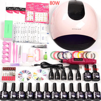 Manicure Set Nail Kit LED Lamp 12 Color Gel Nail Polish Nail Tools Gel Varnish Lacquer Manicure Tools Supplies for Professionals