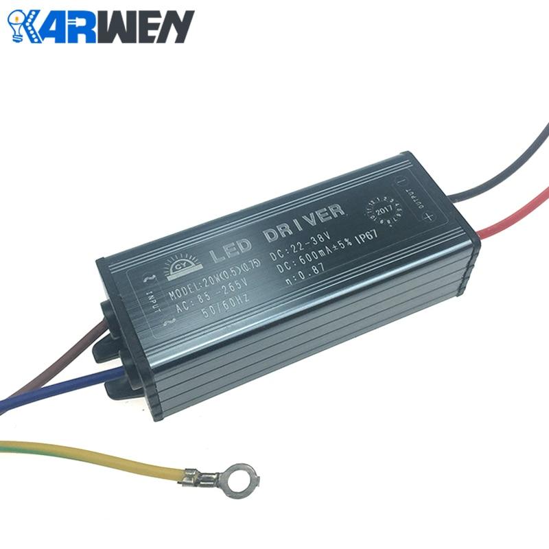 KARWEN LED Driver 10W 20W 30W 50W Adapter Transformer AC85V-265V To DC22-38V IP67 Power Supply 300MA 600MA 900MA 1500MA