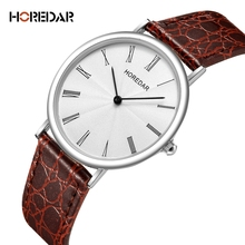 HOREDAR Classic Quartz Watch Luxury Top Brand Slim Business Casual Leather Watch Fashion Simple Ladies Wristwatch Female Clock
