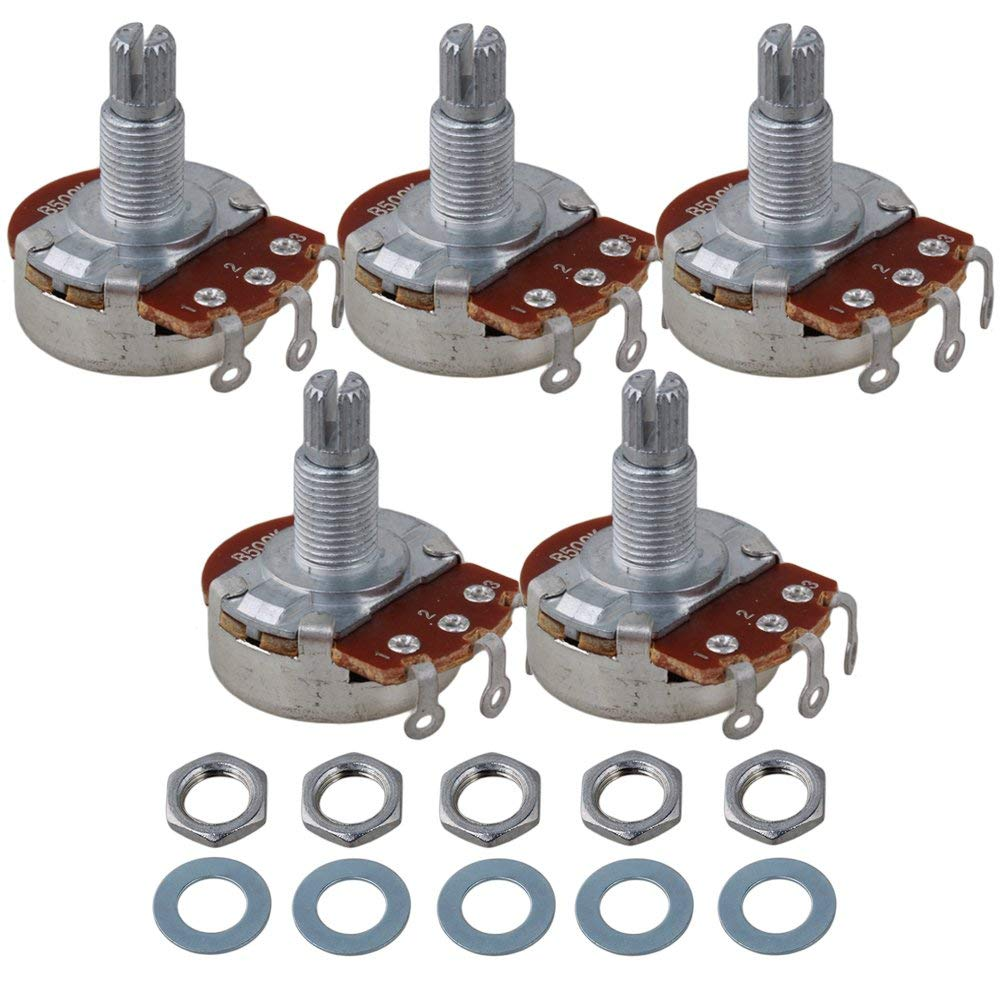 Full Size B500K Pot Split Shaft Potentiometer Tone Pots For Guitar Bass Pack Of 5