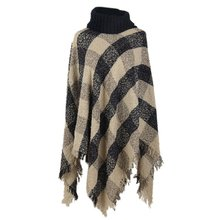 Ethnic Knitted Fusion Tartan Women Poncho Knit Turtle Neck Sweater Coat Outwear
