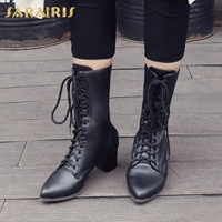 SARAIRIS 2018 Large Size 32 42 Square Heels Lace Up Boots Woman Shoes Pointed Toe Hot Sale Party Shoes Woman Mid Calf Boots
