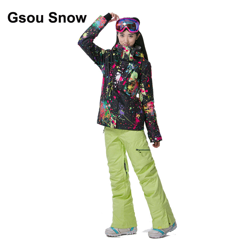 Gsou Snow Thermal Women Colorful Graffiti Ski Suit Waterproof Snowboard Jacket Winter warm suit Sport full suit 1797-071 цена
