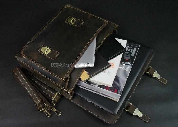 Vintage Crazy Horse Leather Men Briefcase Laptop Bag Work Business Bag Genuine Leather Briefcase Men Shoulder Bag Crossbody bag 5