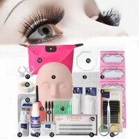 Shellhard 19pcs Set Mannequin Makeup Training Kit High Quality Fake Eyelashes Extension Practice Kits Tool