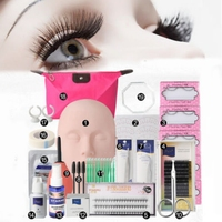 Shellhard 19pcs/set Mannequin Makeup Training Kit High Quality Fake Eyelashes Extension Practice Kits Tool