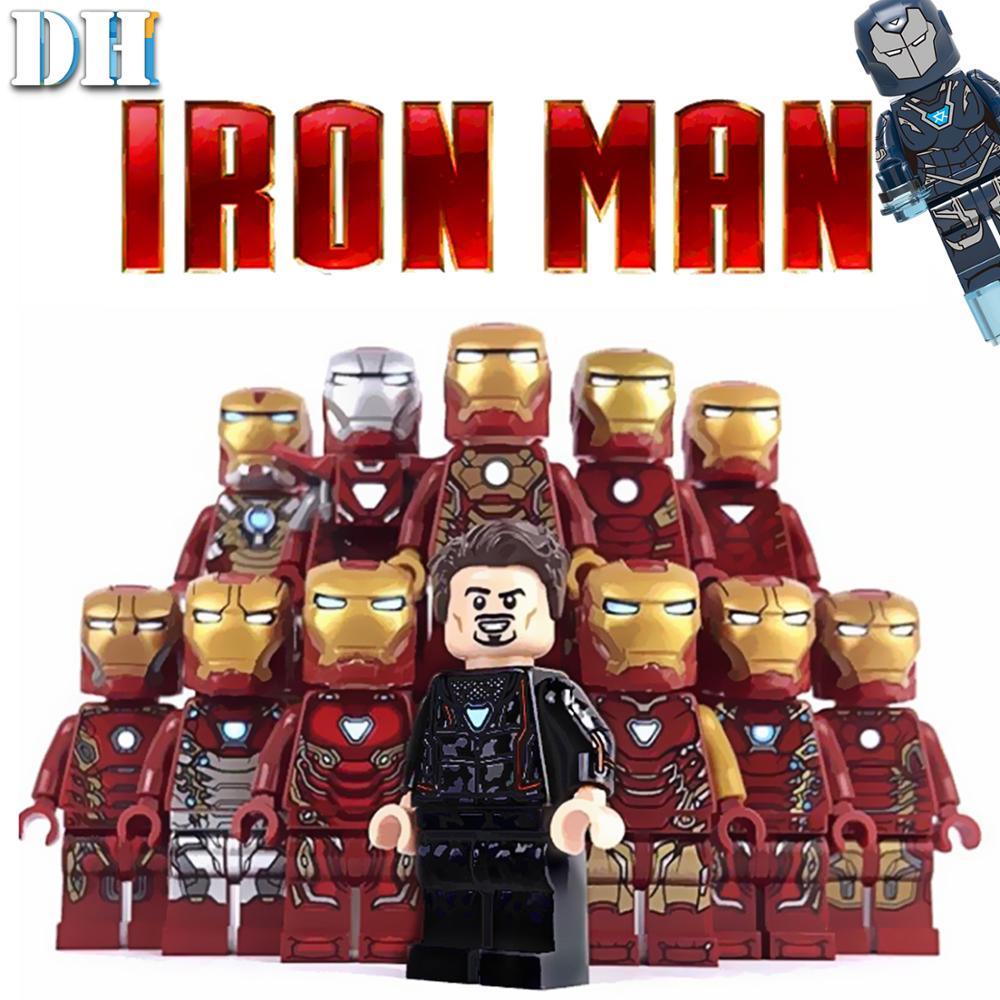 Marvel Avengers Super Hero Tony Iron Man All Mark Armor Set Toy Building Block Brick Toy Children's Gift