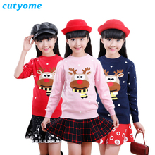 Teenage Girls Christmas Costumes Sweater Cutyome Long Sleeve Knitted Cartoon Deer New Year Kids Sweater Winter Children Warm Top