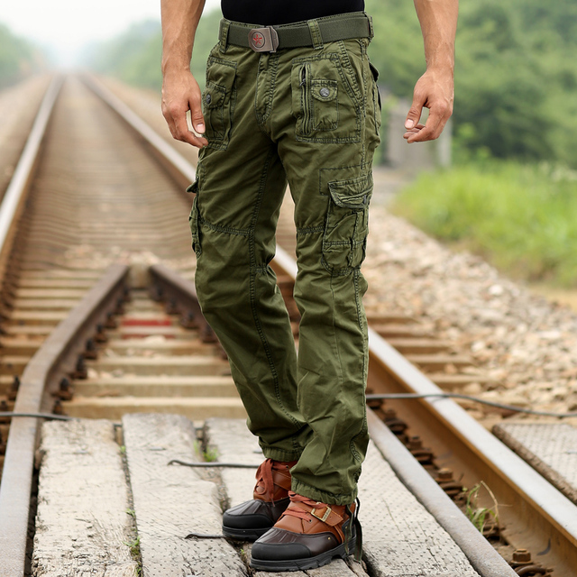 New Sweatpants Men's Casual Cargo Pants Cotton Emoji joggers sweatpants Military  Army Green pants Fashion 2016