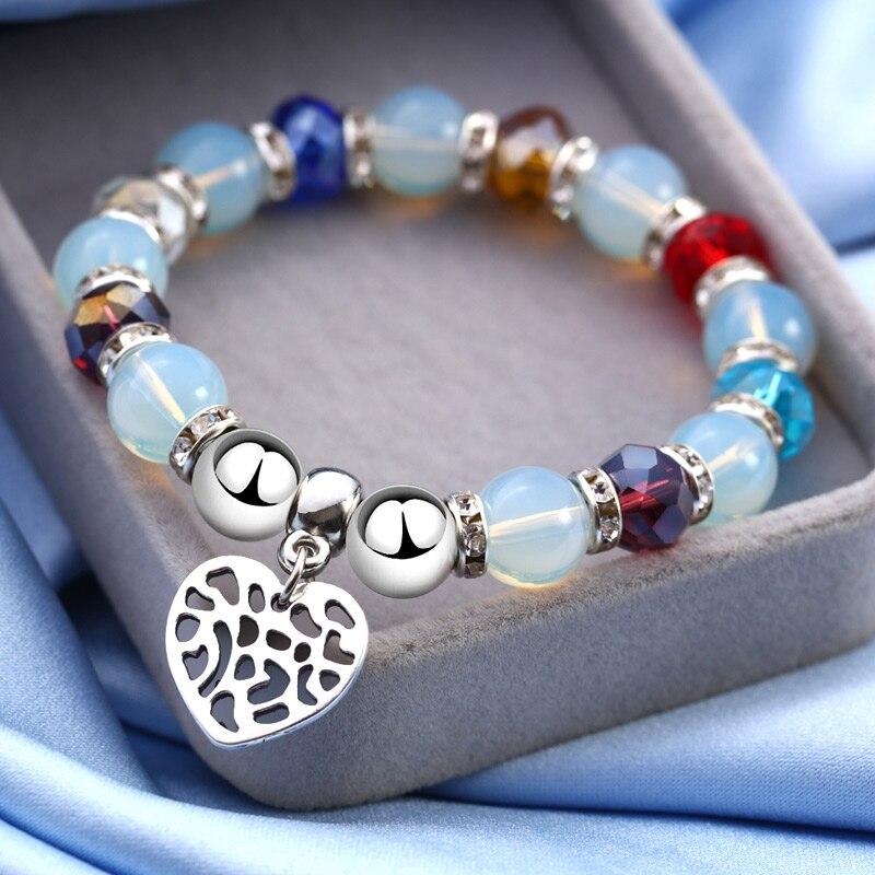 Fashion Elastic Glass Beads Bracelets Femme Heart Charm Bracelet For Women Girls Man Men Friendship Summer Jewelry