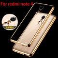 Para redmi note 4 pro case luxo chapeamento de ouro crystal clear tpu case para xiaomi redmi note 4 pro prime silicone voltar abranger os casos