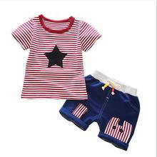2 Pcs/set Kids Baby Boys Pentagram Stripe Printed Tops + Shorts Set