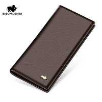 BISON DENIM fashion men wallets genuine leather long slim wallet business men card holder purse wallet