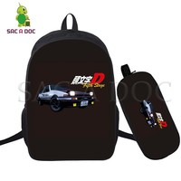 2 Pcs/set Initial D Backpack for Teenagers Girls Boys Laptop Backpack Travel Rucksack Children School Bags