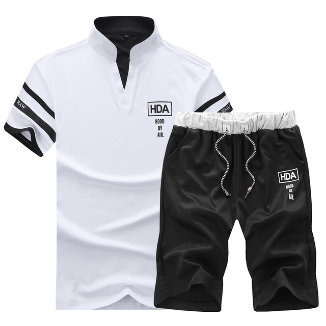 Sportsuits Set Men 2018 Brand Fitness Suits Summer 2PC Top Short Set Mens Stand Collar Fashion 2 Pieces T-shirt Shorts Tracksuit 4