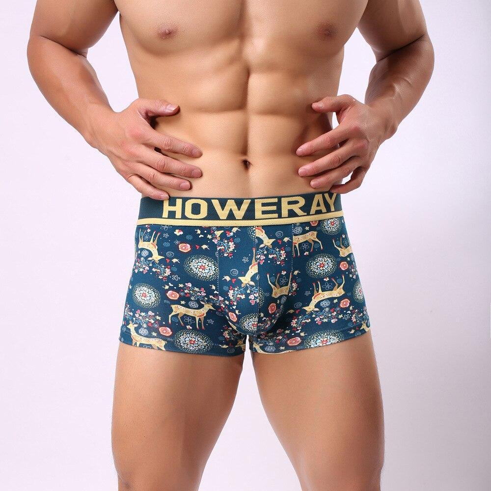 1pcs Brand HOWE RAY Sexy Underwear Gay Boxers Men Colorful Christmas Elk Boxer Shorts Cotton Underwear Men Print Cotton Panties